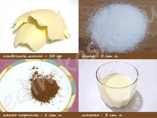 Шоколадная глазурь. Ингредиенты