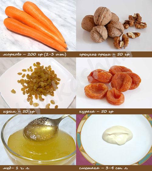 Морковный салат Ингредиенты